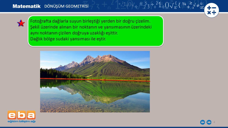 Fotoğrafta dağlarla suyun birleştiği yerden bir doğru çizelim.