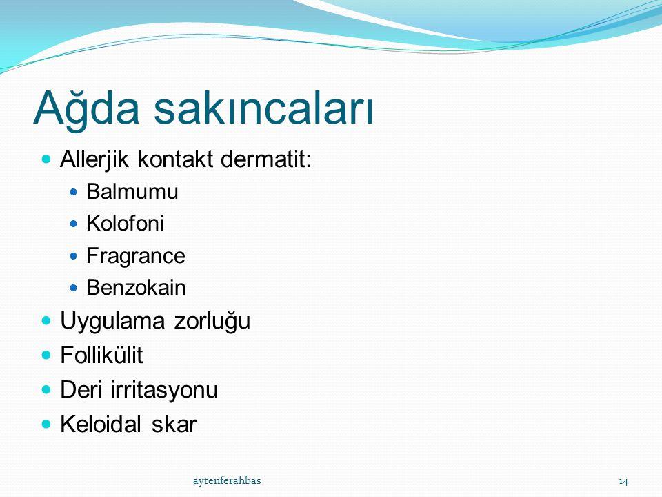Ağda sakıncaları Allerjik kontakt dermatit: Balmumu Kolofoni Fragrance Benzokain Uygulama zorluğu Follikülit Deri irritasyonu Keloidal skar aytenferahbas14