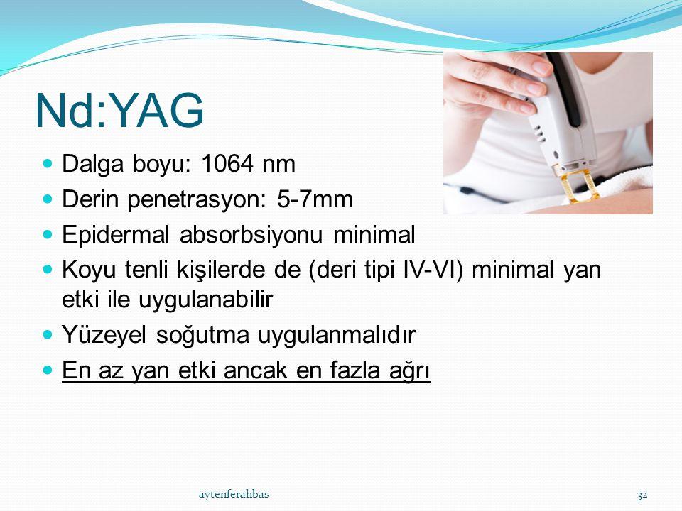 Nd:YAG Dalga boyu: 1064 nm Derin penetrasyon: 5-7mm Epidermal absorbsiyonu minimal Koyu tenli kişilerde de (deri tipi IV-VI) minimal yan etki ile uygulanabilir Yüzeyel soğutma uygulanmalıdır En az yan etki ancak en fazla ağrı aytenferahbas32