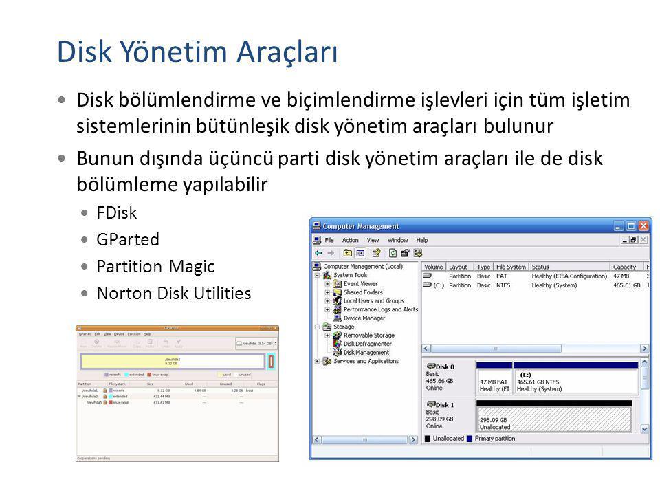Disk Yönetim Araçları Disk bölümlendirme ve biçimlendirme işlevleri için tüm işletim sistemlerinin bütünleşik disk yönetim araçları bulunur Bunun dışı