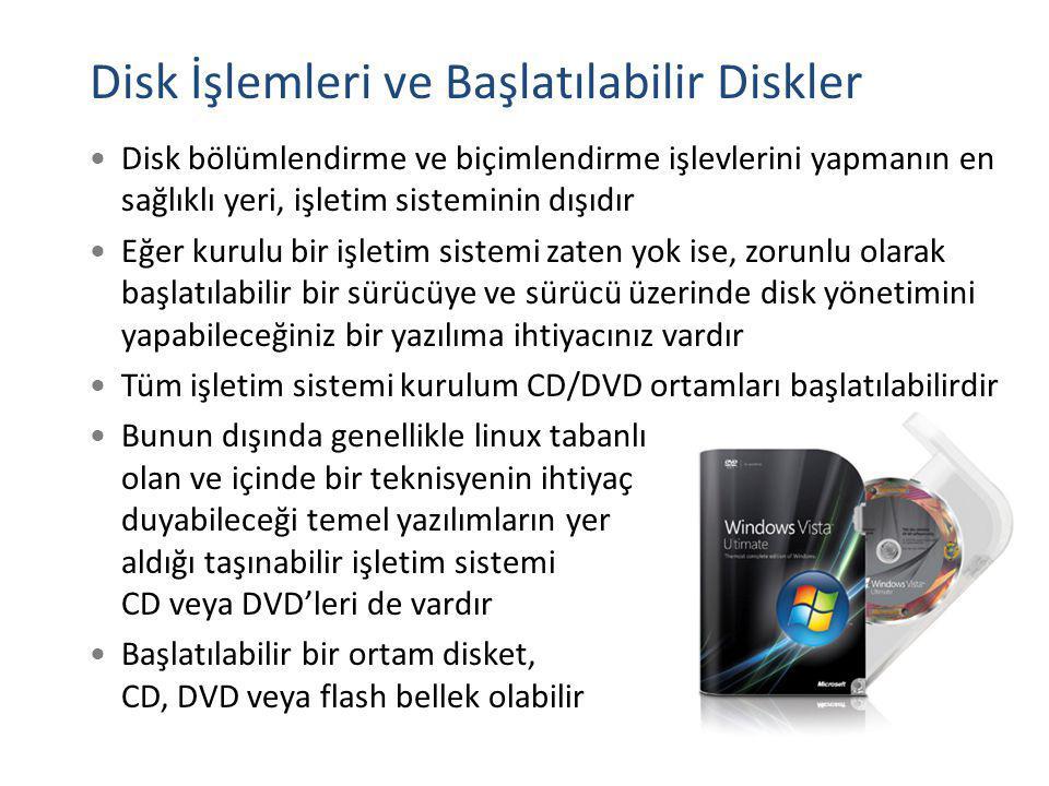 Disk İşlemleri ve Başlatılabilir Diskler Disk bölümlendirme ve biçimlendirme işlevlerini yapmanın en sağlıklı yeri, işletim sisteminin dışıdır Eğer ku