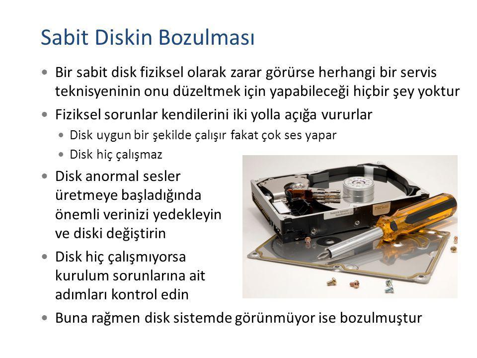 Sabit Diskin Bozulması Bir sabit disk fiziksel olarak zarar görürse herhangi bir servis teknisyeninin onu düzeltmek için yapabileceği hiçbir şey yoktu