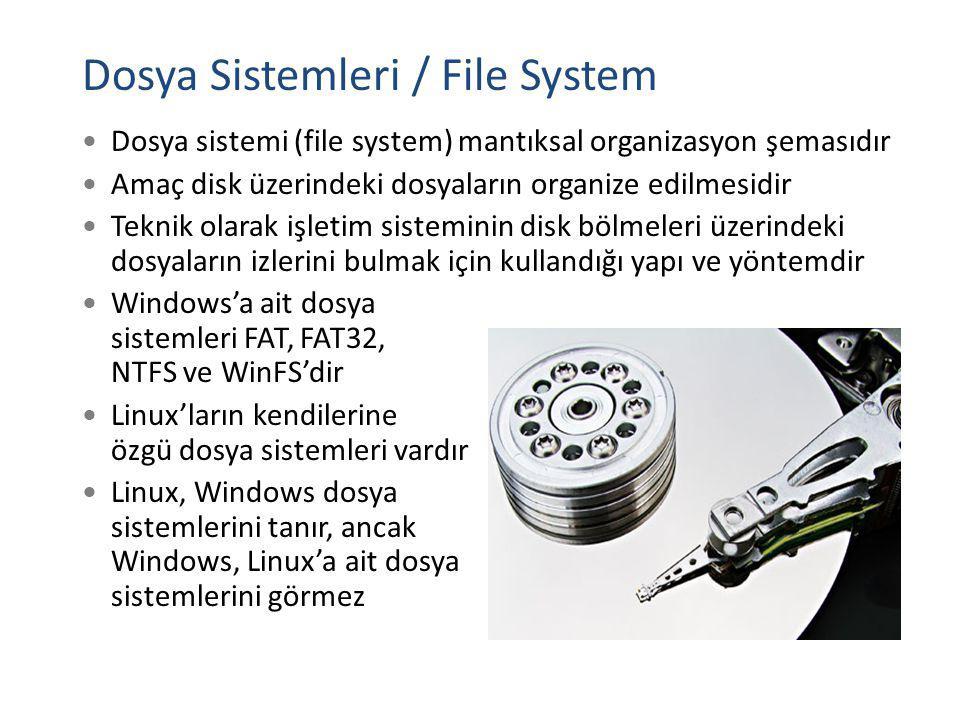 Dosya sistemi (file system) mantıksal organizasyon şemasıdır Amaç disk üzerindeki dosyaların organize edilmesidir Teknik olarak işletim sisteminin dis