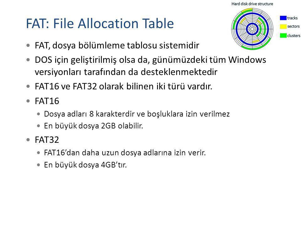 FAT: File Allocation Table FAT, dosya bölümleme tablosu sistemidir DOS için geliştirilmiş olsa da, günümüzdeki tüm Windows versiyonları tarafından da