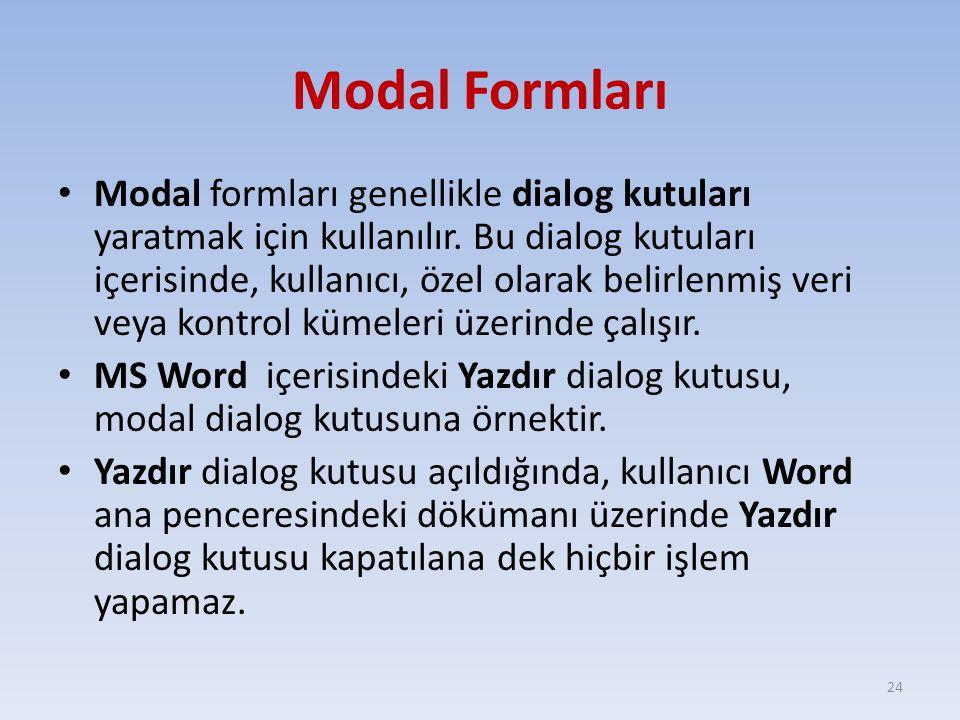 Modal Formları Modal formları genellikle dialog kutuları yaratmak için kullanılır. Bu dialog kutuları içerisinde, kullanıcı, özel olarak belirlenmiş v