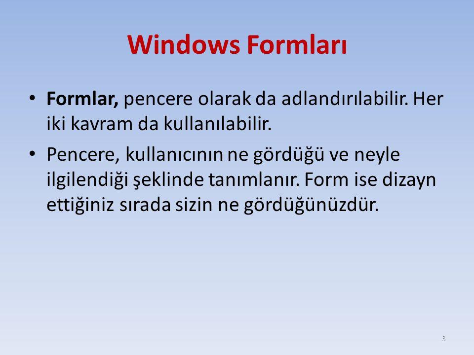 Windows Formları Formlar, pencere olarak da adlandırılabilir. Her iki kavram da kullanılabilir. Pencere, kullanıcının ne gördüğü ve neyle ilgilendiği
