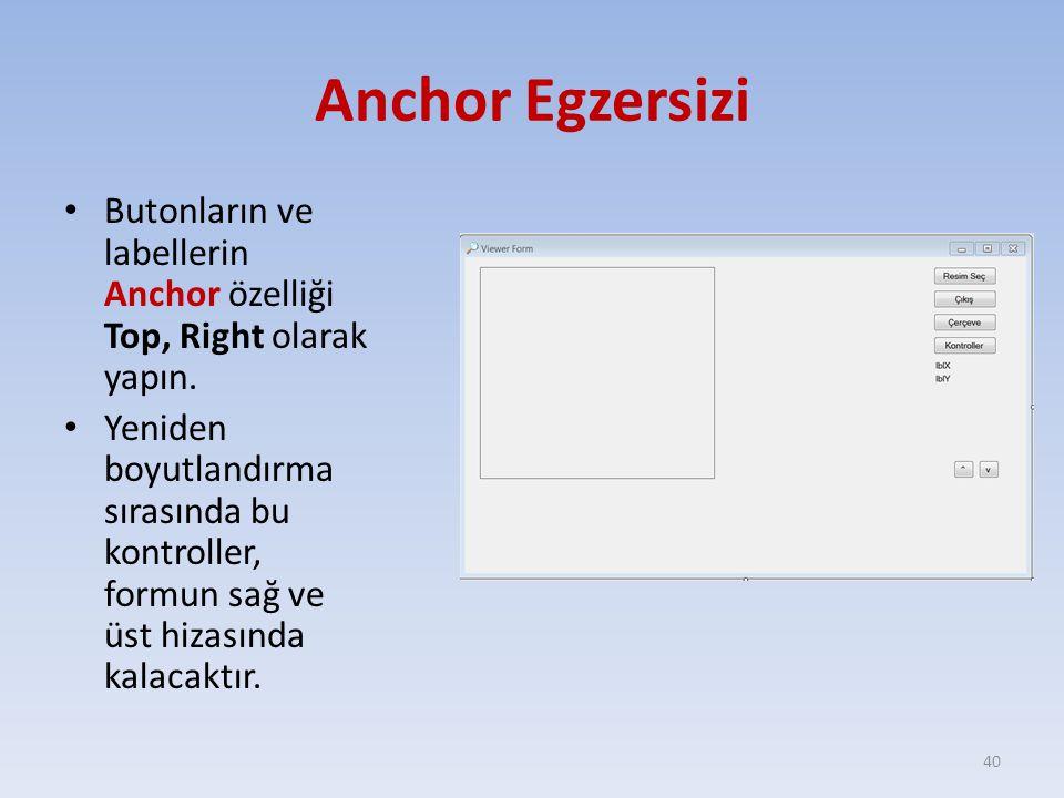 Anchor Egzersizi Butonların ve labellerin Anchor özelliği Top, Right olarak yapın. Yeniden boyutlandırma sırasında bu kontroller, formun sağ ve üst hi