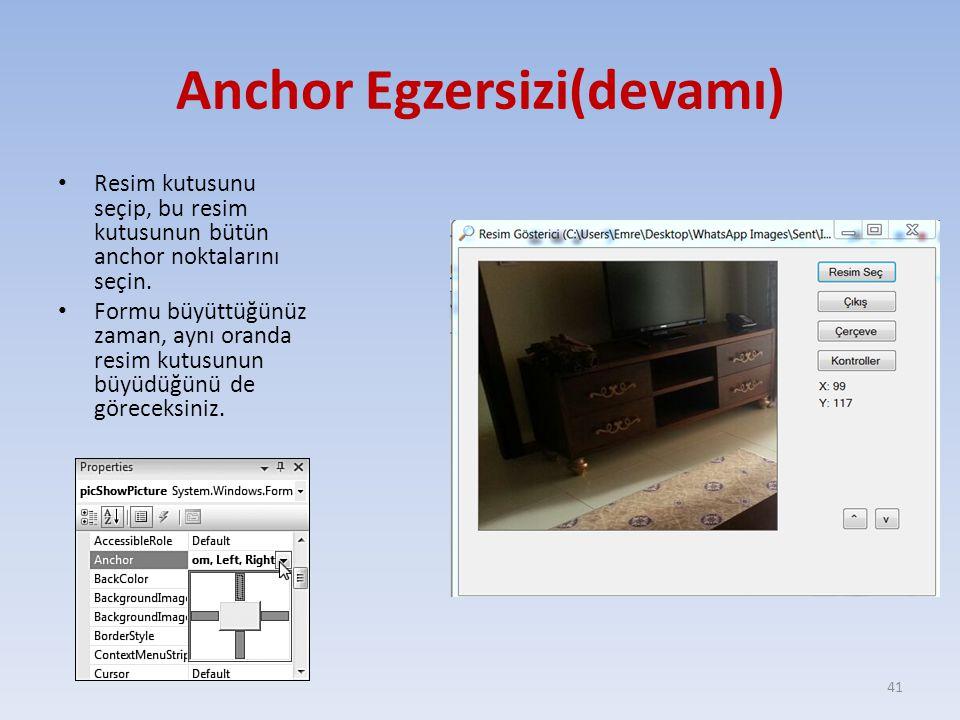 Anchor Egzersizi(devamı) Resim kutusunu seçip, bu resim kutusunun bütün anchor noktalarını seçin. Formu büyüttüğünüz zaman, aynı oranda resim kutusunu