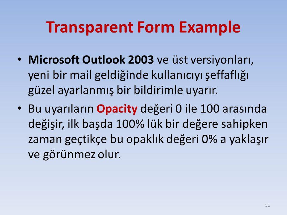 Transparent Form Example Microsoft Outlook 2003 ve üst versiyonları, yeni bir mail geldiğinde kullanıcıyı şeffaflığı güzel ayarlanmış bir bildirimle uyarır.