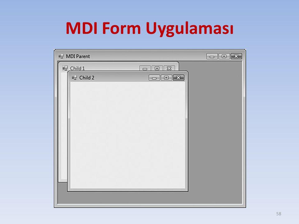 MDI Form Uygulaması 58