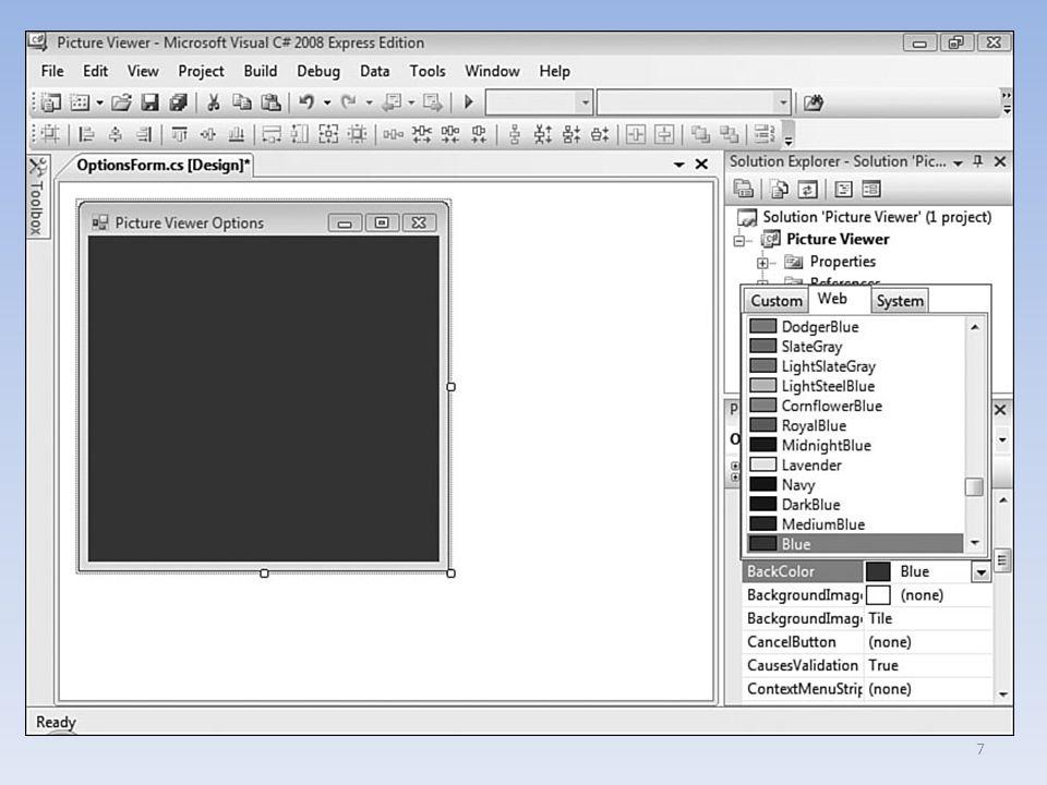 Arka plana bir resim eklemek Forma bir resim eklemek için, formun BackgroundImage özelliği ayarlanır.