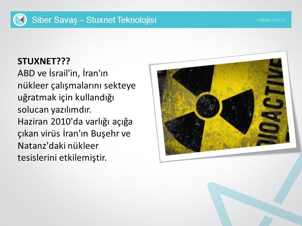 Siber Savaş – Stuxnet Teknolojisi STUXNET??? ABD ve İsrail'in, İran'ın nükleer çalışmalarını sekteye uğratmak için kullandığı solucan yazılımdır. Hazi