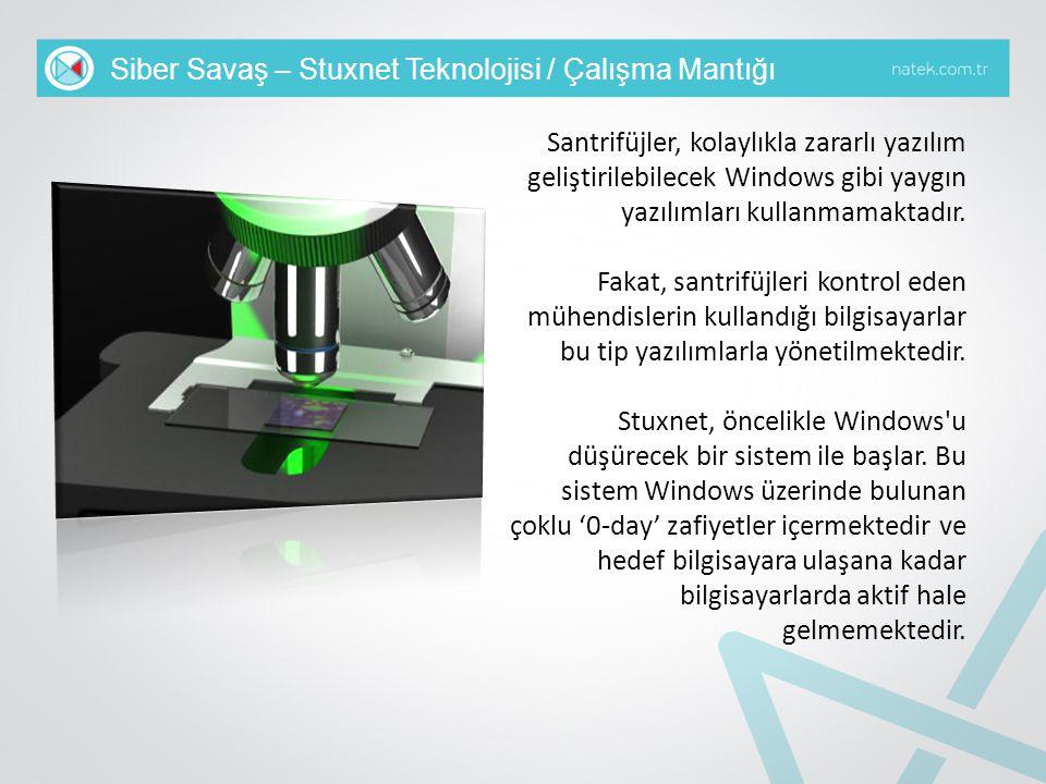 Siber Savaş – Stuxnet Teknolojisi / Çalışma Mantığı Santrifüjler, kolaylıkla zararlı yazılım geliştirilebilecek Windows gibi yaygın yazılımları kullan