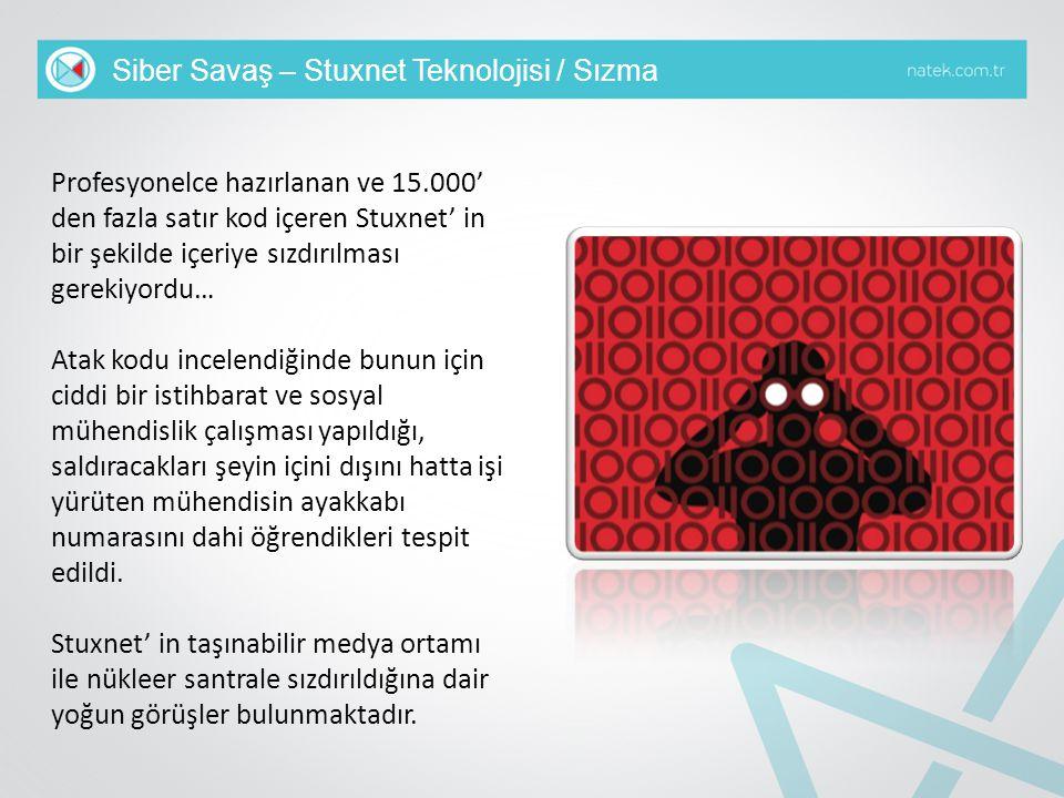 Siber Savaş – Stuxnet Teknolojisi / Sızma Profesyonelce hazırlanan ve 15.000' den fazla satır kod içeren Stuxnet' in bir şekilde içeriye sızdırılması