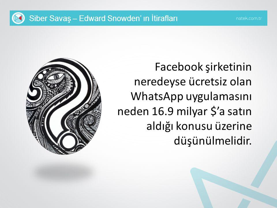 Siber Savaş – Edward Snowden' ın İtirafları Facebook şirketinin neredeyse ücretsiz olan WhatsApp uygulamasını neden 16.9 milyar $'a satın aldığı konus