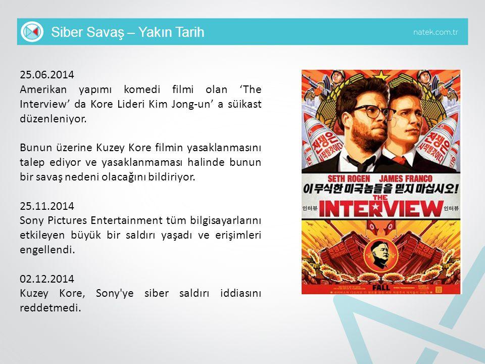Siber Savaş – Yakın Tarih 25.06.2014 Amerikan yapımı komedi filmi olan 'The Interview' da Kore Lideri Kim Jong-un' a süikast düzenleniyor. Bunun üzeri