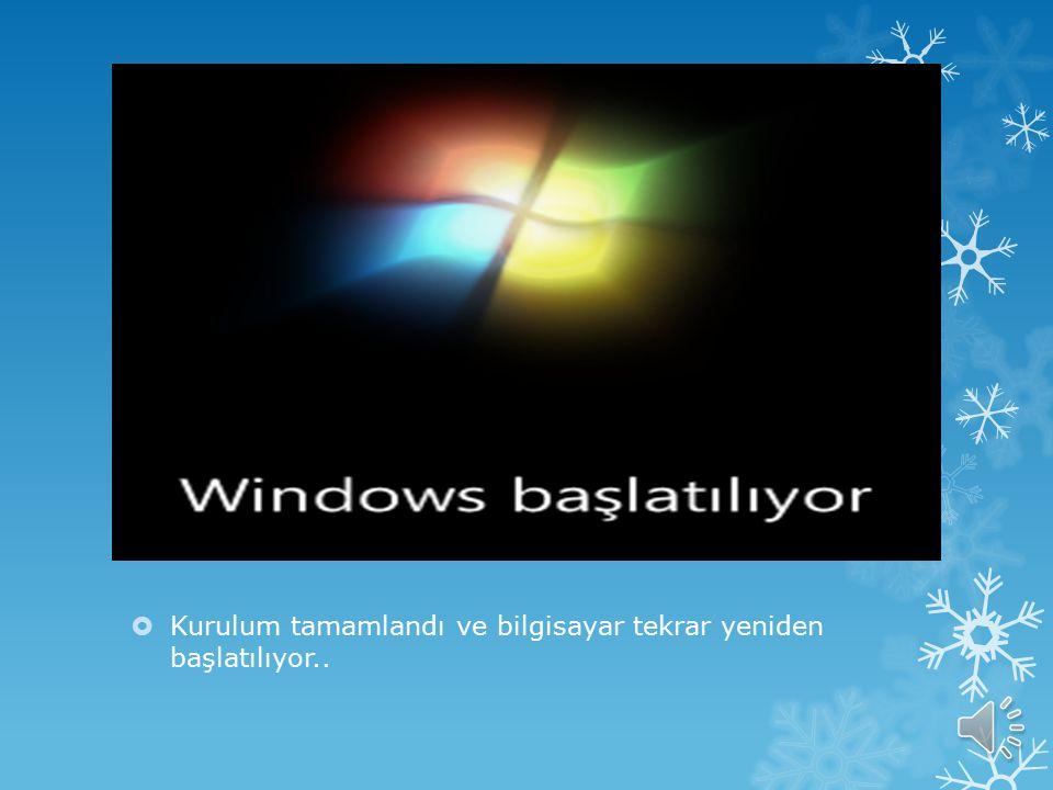  Buradan sonrasın otomatik olarak dosyalar kopyalanacak ve Windows yüklenecektir.  Sizin müdahale etmenizi gerektiren bir durum olmayacak. Bu esnada