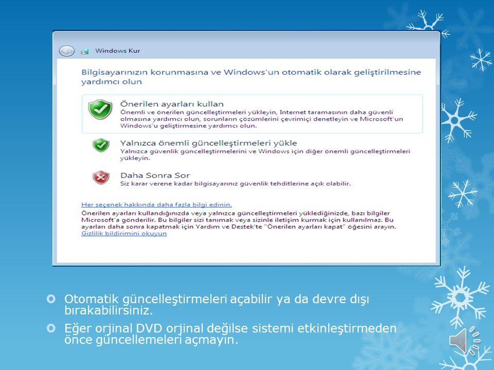  Satın aldığınız Windows'un ürün anahtarını girin. Bu genellikle DVD'nin kutusunda yazıyor olabilir.  Eğer orjinal DVD değilse işaretli olan tiki ka