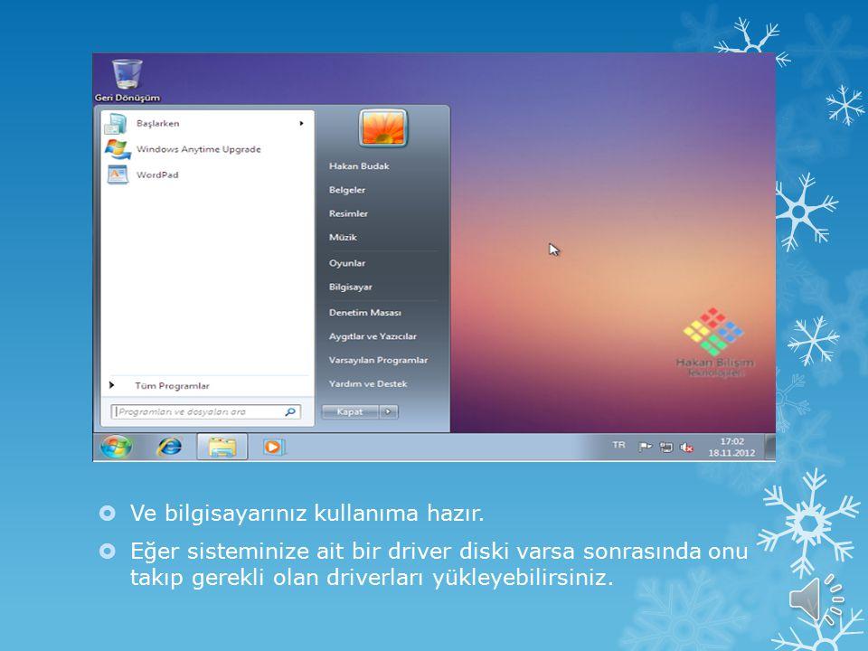  Sonrasında gelen bir kaç basit ayar ekranından sonra nihayet açılış ekranı..