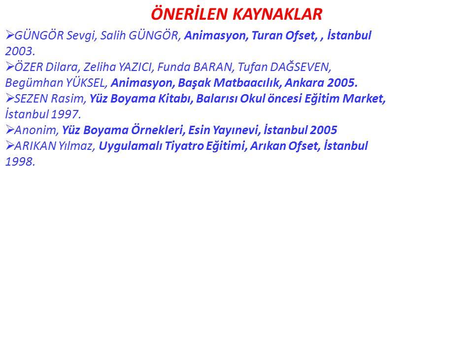 ÖNERİLEN KAYNAKLAR  GÜNGÖR Sevgi, Salih GÜNGÖR, Animasyon, Turan Ofset,, İstanbul 2003.