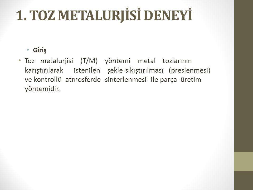1. TOZ METALURJİSİ DENEYİ Giriş Toz metalurjisi (T/M) yöntemi metal tozlarının karıştırılarak istenilen şekle sıkıştırılması (preslenmesi) ve kontroll