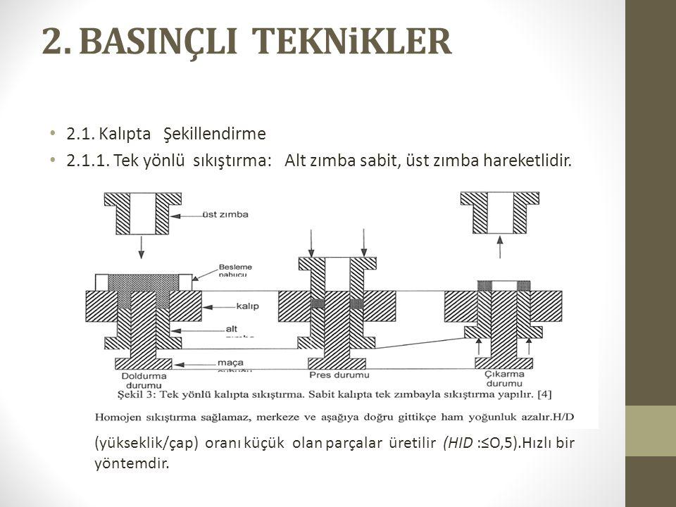 2. BASINÇLI TEKNiKLER 2.1. Kalıpta Şekillendirme 2.1.1. Tek yönlü sıkıştırma: Alt zımba sabit, üst zımba hareketlidir. (yükseklik/çap) oranı küçük ola