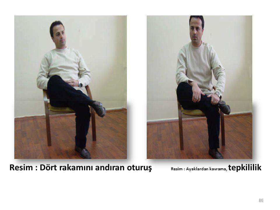 86 Resim : Dört rakamını andıran oturuş Resim : Ayaklardan kavrama, tepkililik