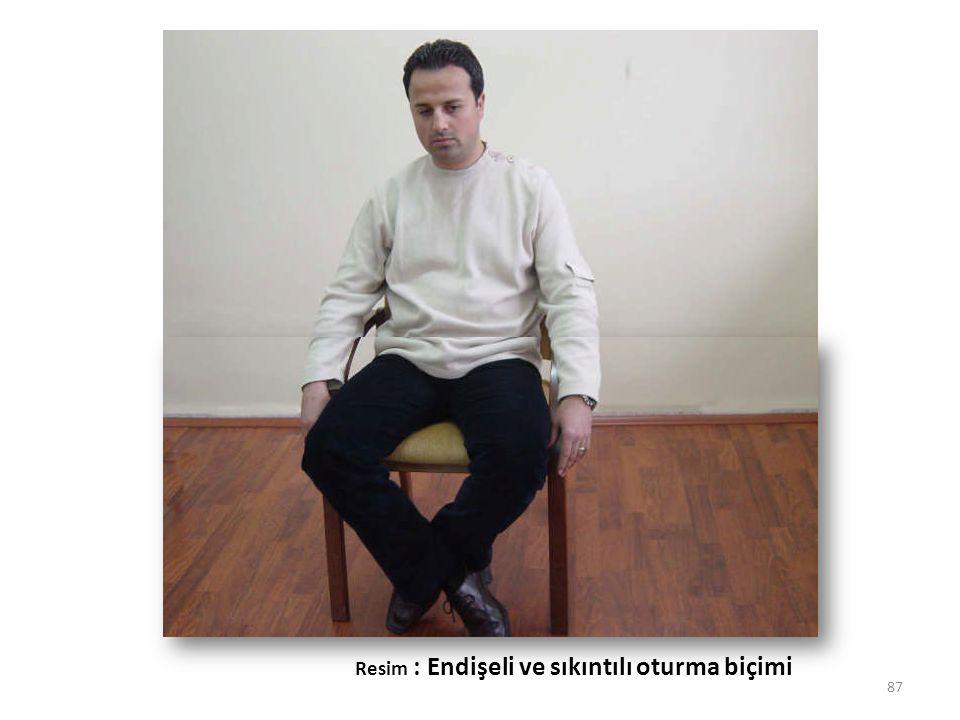 87 Resim : Endişeli ve sıkıntılı oturma biçimi
