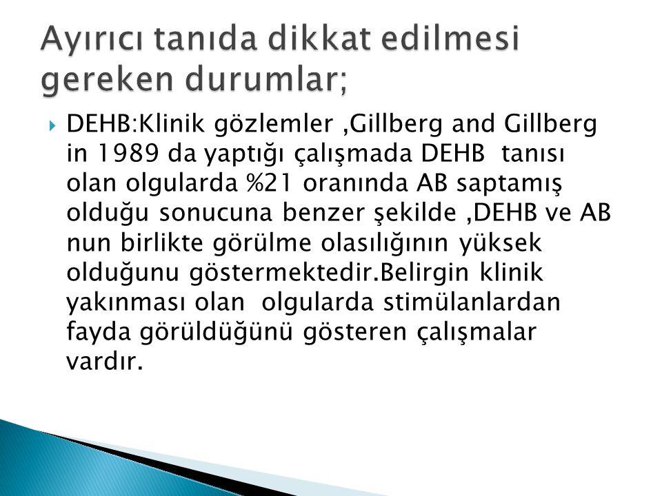  DEHB:Klinik gözlemler,Gillberg and Gillberg in 1989 da yaptığı çalışmada DEHB tanısı olan olgularda %21 oranında AB saptamış olduğu sonucuna benzer