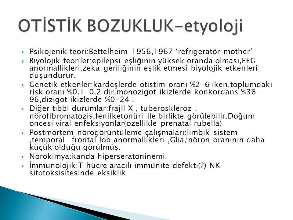  Psikojenik teori:Bettelheim 1956,1967 'refrigeratör mother'  Biyolojik teoriler:epilepsi eşliğinin yüksek oranda olması,EEG anormallikleri,zeka ger