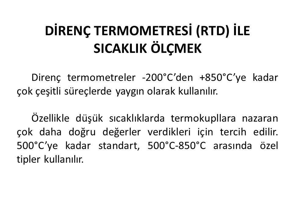 DİRENÇ TERMOMETRESİ (RTD) İLE SICAKLIK ÖLÇMEK Direnç termometreler -200°C'den +850°C'ye kadar çok çeşitli süreçlerde yaygın olarak kullanılır. Özelli