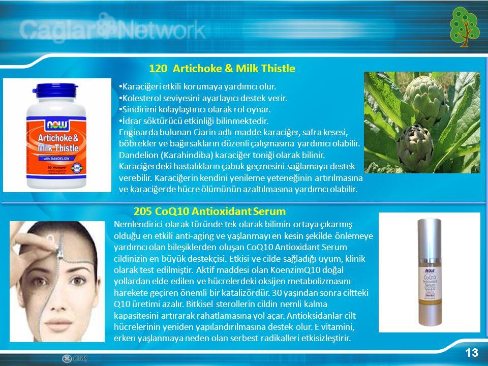 13 120 Artichoke & Milk Thistle Karaciğeri etkili korumaya yardımcı olur. Kolesterol seviyesini ayarlayıcı destek verir. Sindirimi kolaylaştırıcı olar