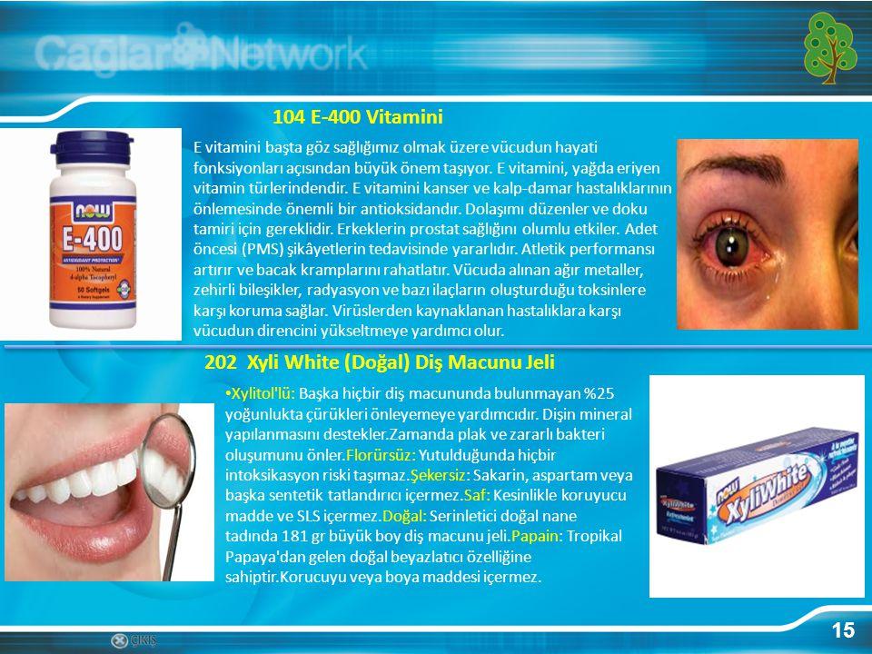 15 104 E-400 Vitamini E vitamini başta göz sağlığımız olmak üzere vücudun hayati fonksiyonları açısından büyük önem taşıyor. E vitamini, yağda eriyen