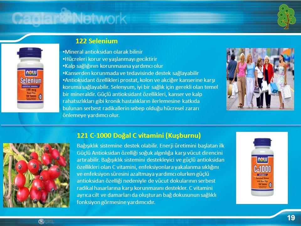 19 122 Selenium Mineral antioksidan olarak bilinir Hücreleri korur ve yaşlanmayı geciktirir Kalp sağlığının korunmasına yardımcı olur Kanserden korunm