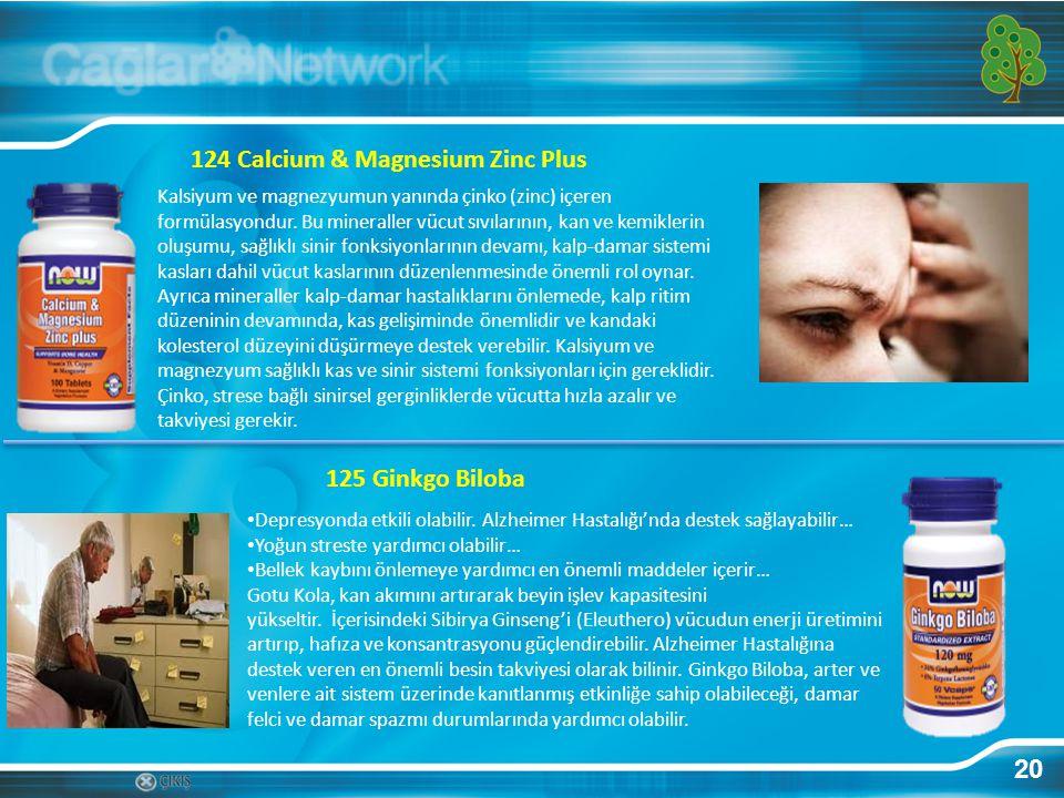 20 124 Calcium & Magnesium Zinc Plus Kalsiyum ve magnezyumun yanında çinko (zinc) içeren formülasyondur. Bu mineraller vücut sıvılarının, kan ve kemik