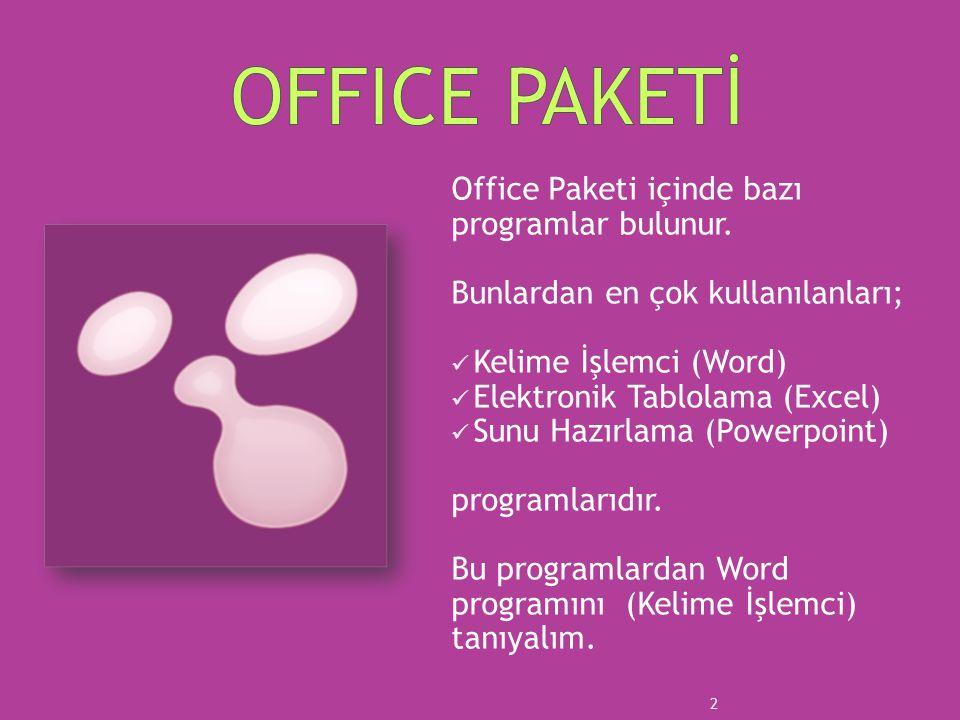 Office Paketi içinde bazı programlar bulunur. Bunlardan en çok kullanılanları; Kelime İşlemci (Word) Elektronik Tablolama (Excel) Sunu Hazırlama (Powe