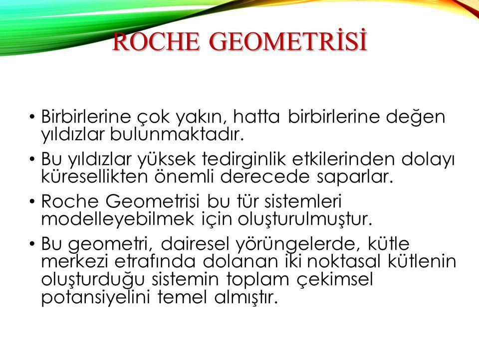ROCHE GEOMETRİSİ Birbirlerine çok yakın, hatta birbirlerine değen yıldızlar bulunmaktadır. Bu yıldızlar yüksek tedirginlik etkilerinden dolayı küresel