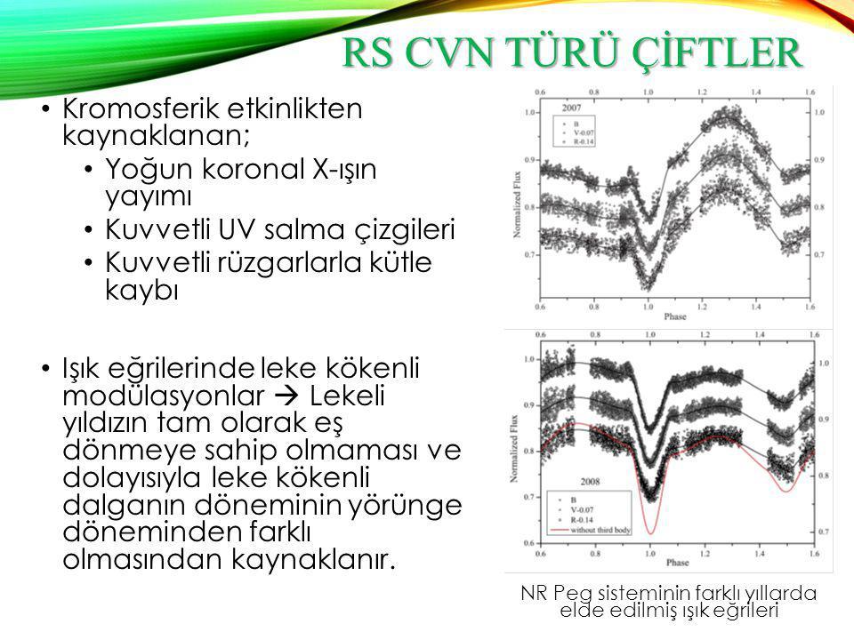 RS CVN TÜRÜ ÇİFTLER Kromosferik etkinlikten kaynaklanan; Yoğun koronal X-ışın yayımı Kuvvetli UV salma çizgileri Kuvvetli rüzgarlarla kütle kaybı Işık
