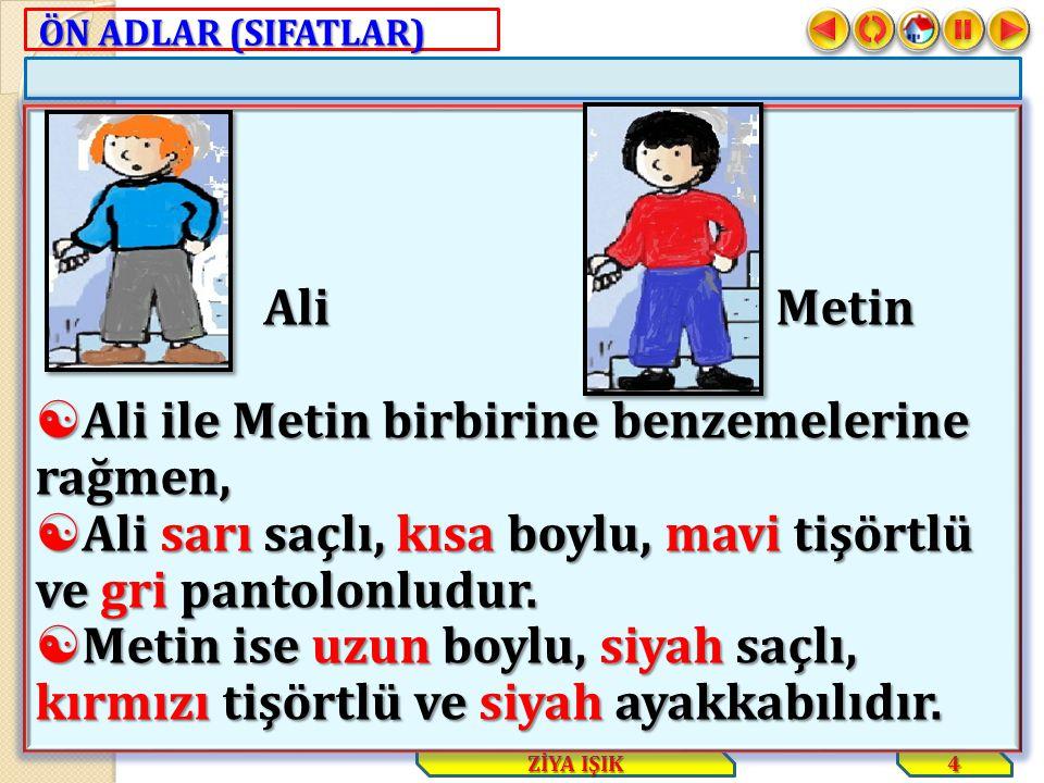 ÖN ADLAR (SIFATLAR) 4 ZİYA IŞIK Ali Metin Ali Metin  Ali ile Metin birbirine benzemelerine rağmen,  Ali sarı saçlı, kısa boylu, mavi tişörtlü ve gri