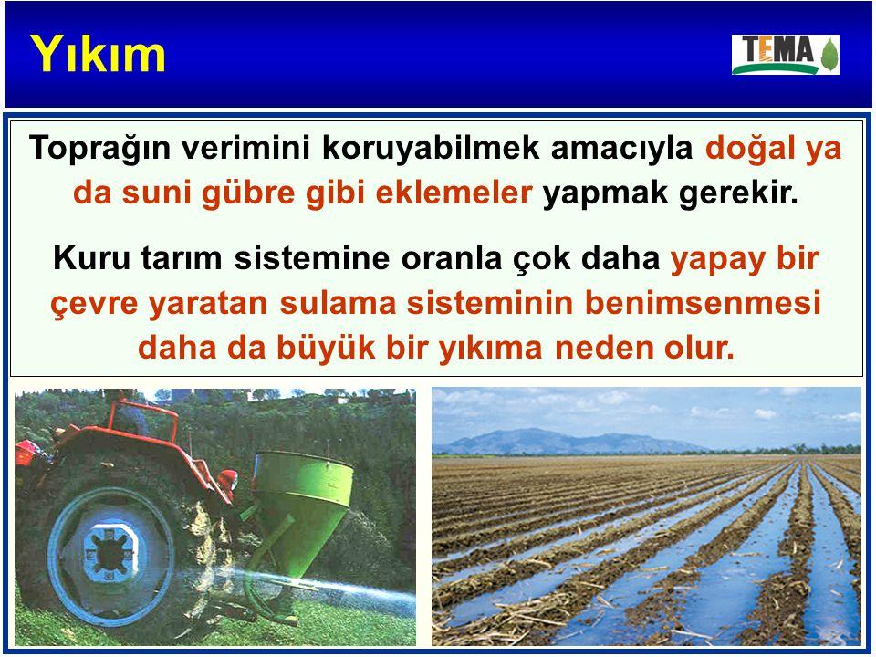 Toprağın verimini koruyabilmek amacıyla doğal ya da suni gübre gibi eklemeler yapmak gerekir. Kuru tarım sistemine oranla çok daha yapay bir çevre yar