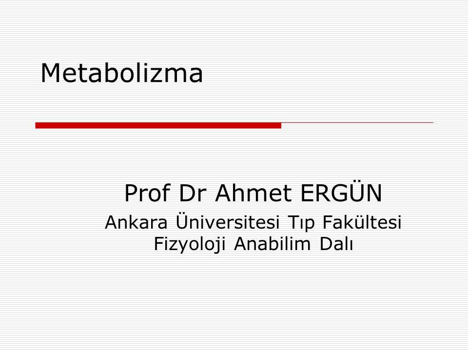 Metabolizma Prof Dr Ahmet ERGÜN Ankara Üniversitesi Tıp Fakültesi Fizyoloji Anabilim Dalı