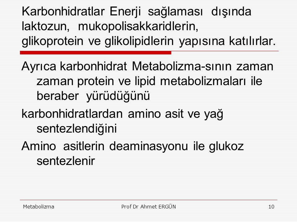 MetabolizmaProf Dr Ahmet ERGÜN10 Karbonhidratlar Enerji sağlaması dışında laktozun, mukopolisakkaridlerin, glikoprotein ve glikolipidlerin yapısına ka