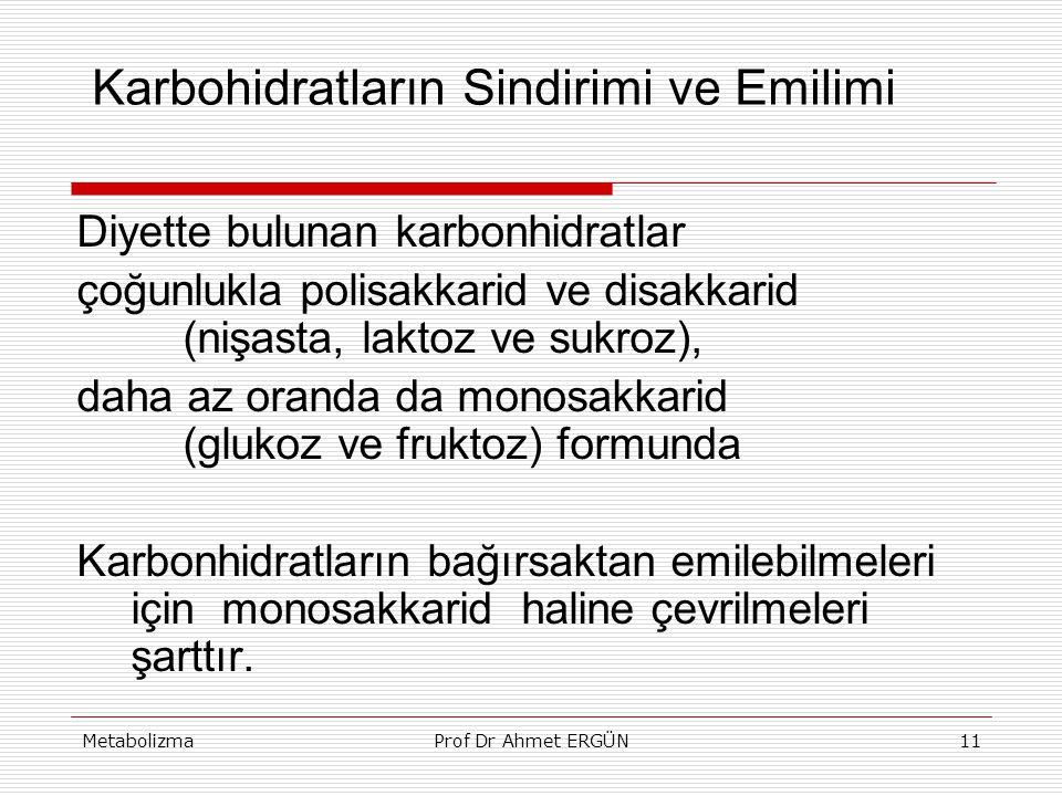 MetabolizmaProf Dr Ahmet ERGÜN11 Karbohidratların Sindirimi ve Emilimi Diyette bulunan karbonhidratlar çoğunlukla polisakkarid ve disakkarid (nişasta,