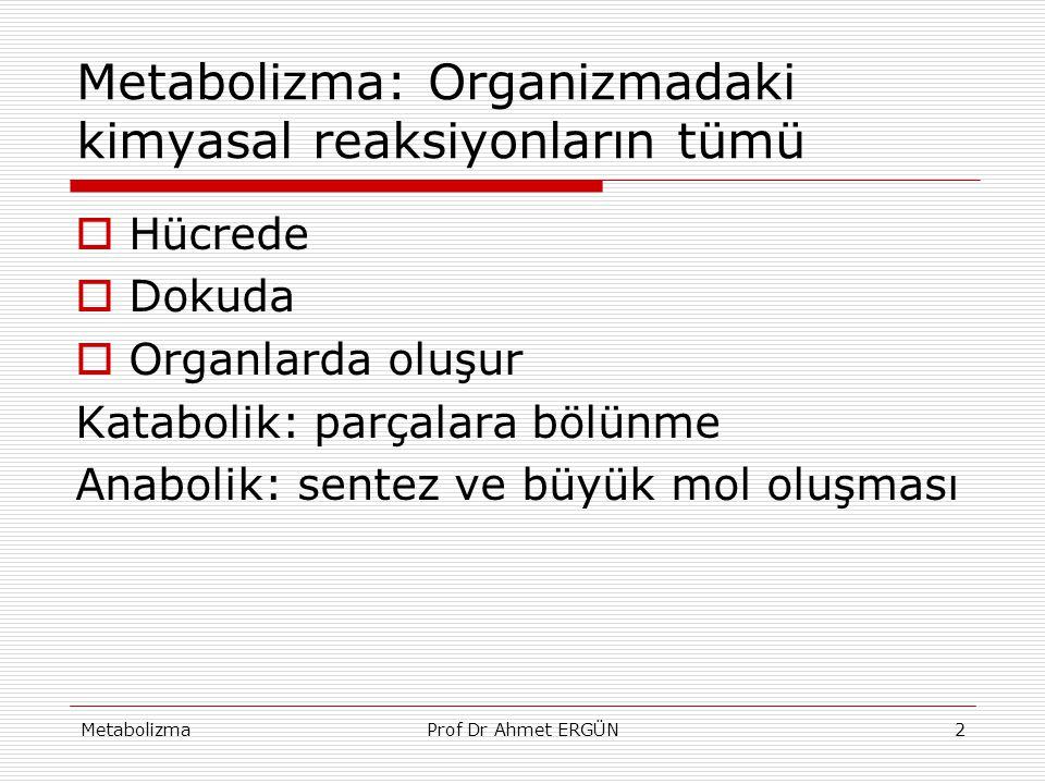 MetabolizmaProf Dr Ahmet ERGÜN2 Metabolizma: Organizmadaki kimyasal reaksiyonların tümü  Hücrede  Dokuda  Organlarda oluşur Katabolik: parçalara bö