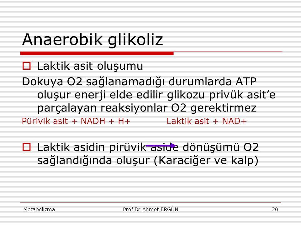 MetabolizmaProf Dr Ahmet ERGÜN20 Anaerobik glikoliz  Laktik asit oluşumu Dokuya O2 sağlanamadığı durumlarda ATP oluşur enerji elde edilir glikozu pri