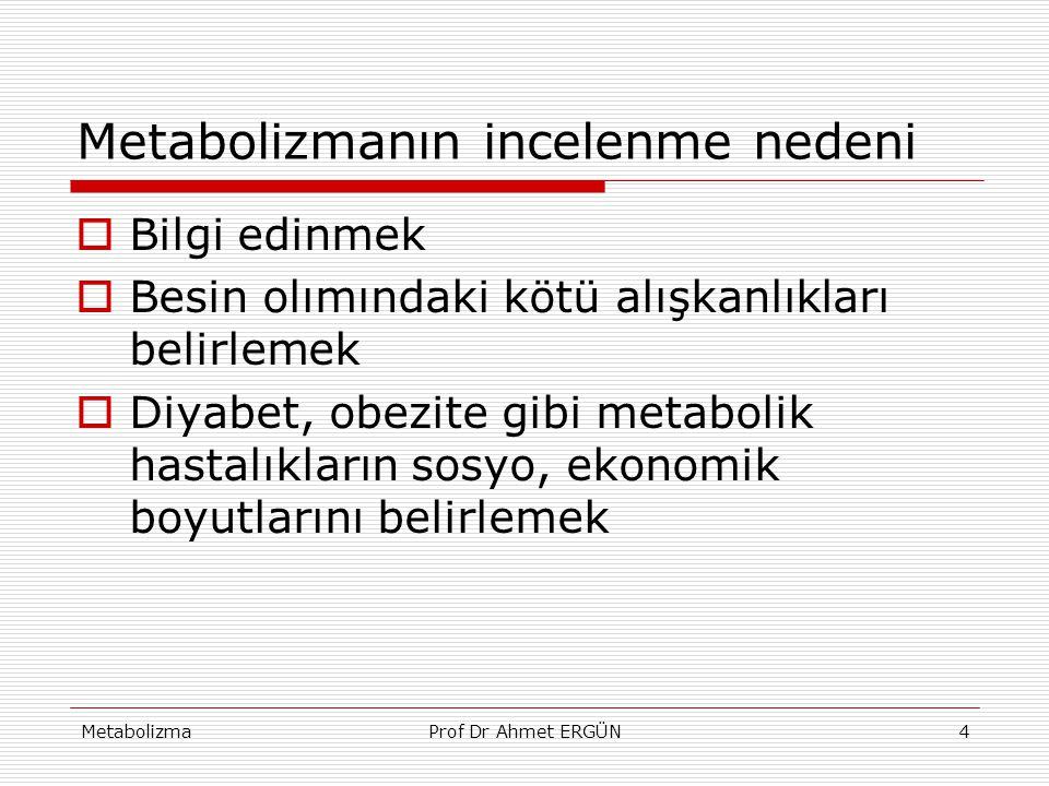 MetabolizmaProf Dr Ahmet ERGÜN4 Metabolizmanın incelenme nedeni  Bilgi edinmek  Besin olımındaki kötü alışkanlıkları belirlemek  Diyabet, obezite g