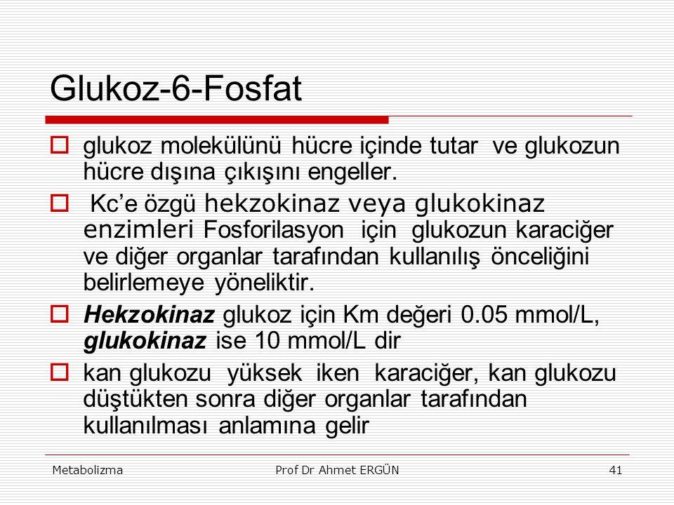 MetabolizmaProf Dr Ahmet ERGÜN41 Glukoz-6-Fosfat  glukoz molekülünü hücre içinde tutar ve glukozun hücre dışına çıkışını engeller.  Kc'e özgü hekzok