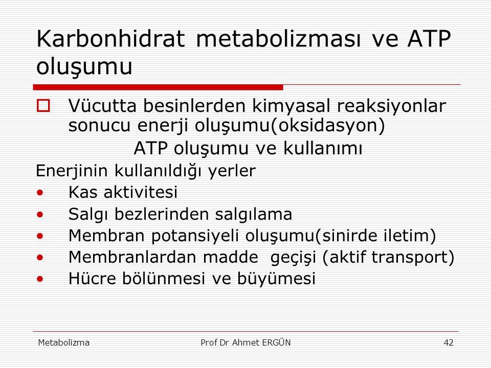 MetabolizmaProf Dr Ahmet ERGÜN42 Karbonhidrat metabolizması ve ATP oluşumu  Vücutta besinlerden kimyasal reaksiyonlar sonucu enerji oluşumu(oksidasyo
