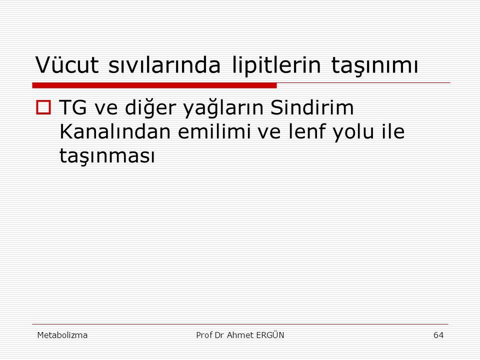 MetabolizmaProf Dr Ahmet ERGÜN64 Vücut sıvılarında lipitlerin taşınımı  TG ve diğer yağların Sindirim Kanalından emilimi ve lenf yolu ile taşınması