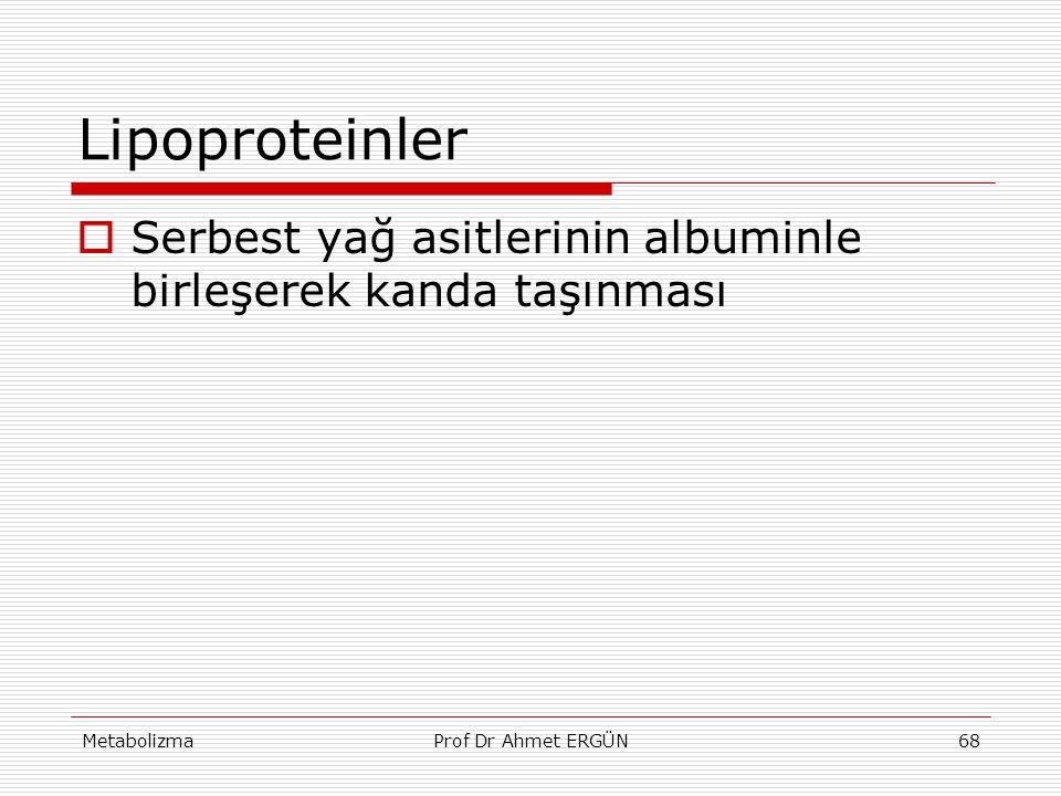 MetabolizmaProf Dr Ahmet ERGÜN68 Lipoproteinler  Serbest yağ asitlerinin albuminle birleşerek kanda taşınması